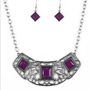 Dark purple statement necklace and earrings